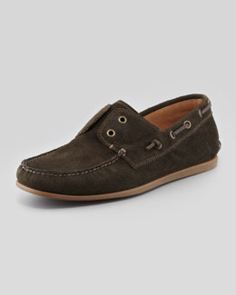 John Varvatos Star USA Schooner Leather Boat Shoe, Gray