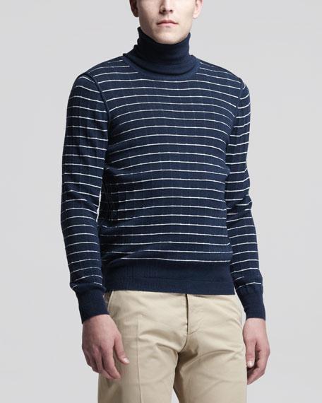 Dot Knit Turtleneck Sweater, Blue