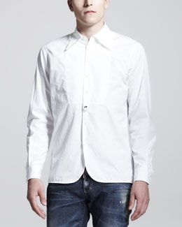 DSquared2 Super Dicky Bib-Front Long-Sleeve Shirt, White