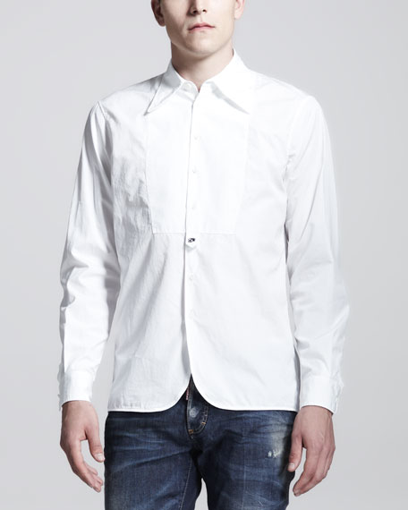 Super Dicky Bib-Front Long-Sleeve Shirt, White