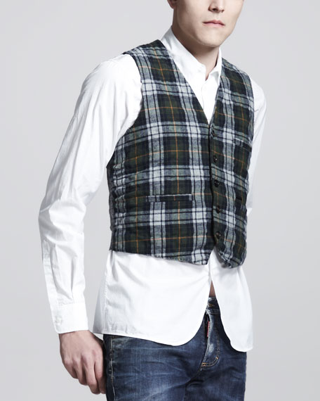 Plaid Knit Vest, Blue/Green/Red
