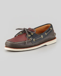 Sperry Top-Sider Gold Cup Two-Tone Slip-On Boat Shoe, Gray/Burgundy
