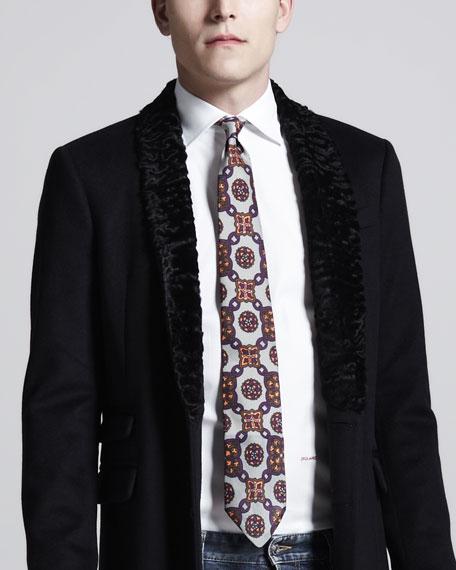 Print Silk Tie, Red/Silver