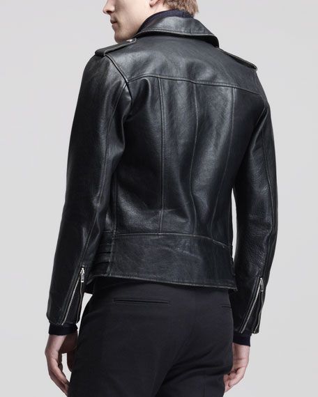 Leather Biker Jacket, Black