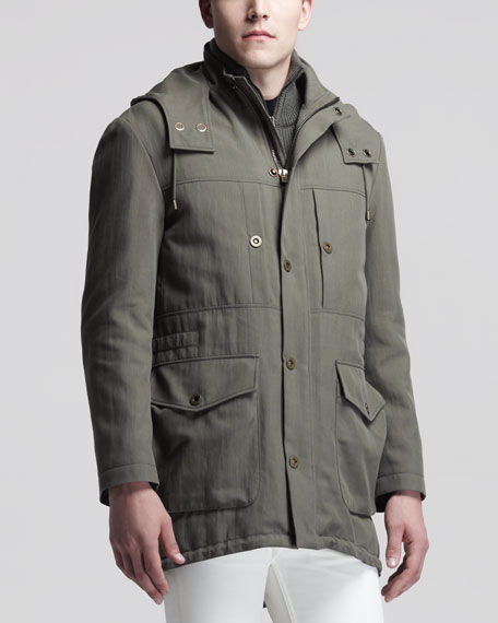 Fur-Lined Parka Jacket, Khaki