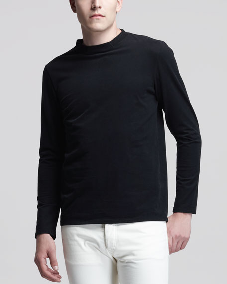 Long-Sleeve Jersey Tee, Black