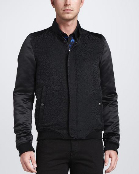 Leopard-Print Bomber Jacket, Black