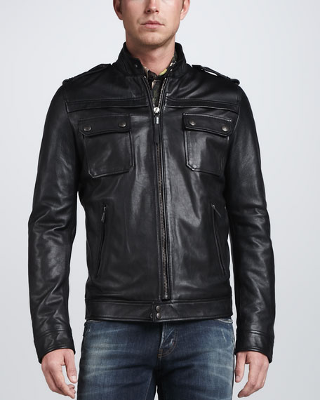 Leather Motorcycle Jacket, Black