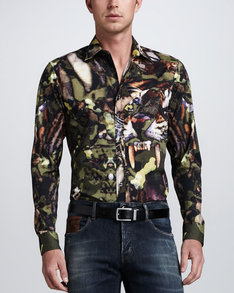 Tiger Camo-Print Long-Sleeve Shirt