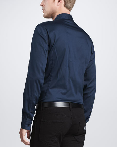 Solid Long-Sleeve Shirt, Blue