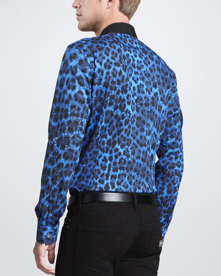 Leopard-Print Long-Sleeve Shirt, Blue/Black