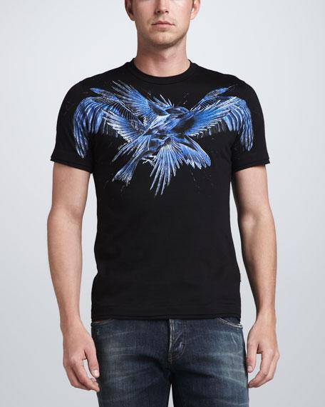 Bird-Print Tee, Black/Blue