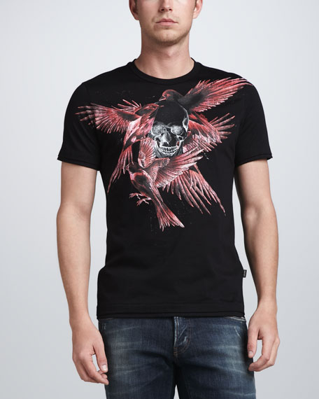 Bird & Skull-Print Tee, Black/Red