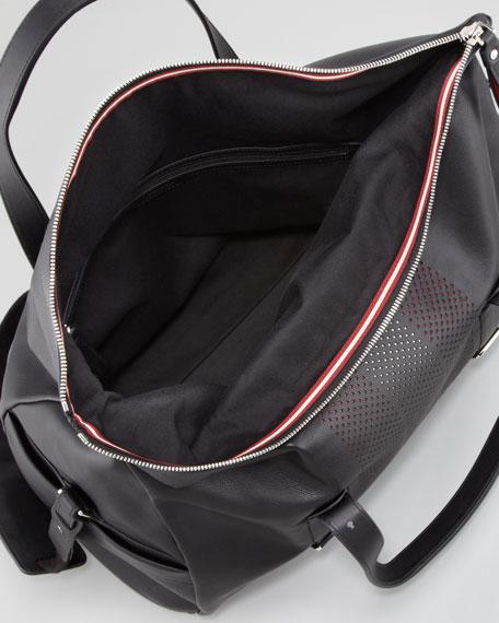 Vivoli Men's Perforated Leather Duffle Bag, Black