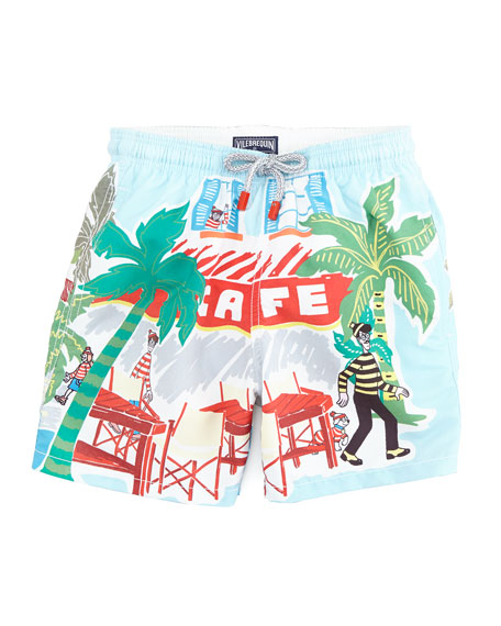 Special Edition Where's Waldo? Boys' Jam Swim Trunks, Sizes 8-14