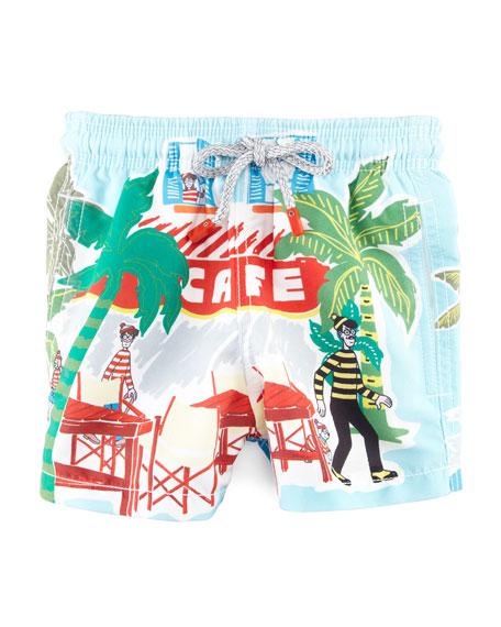 Special Edition Where's Waldo? Boys' Jam Swim Trunks, Sizes 2-6