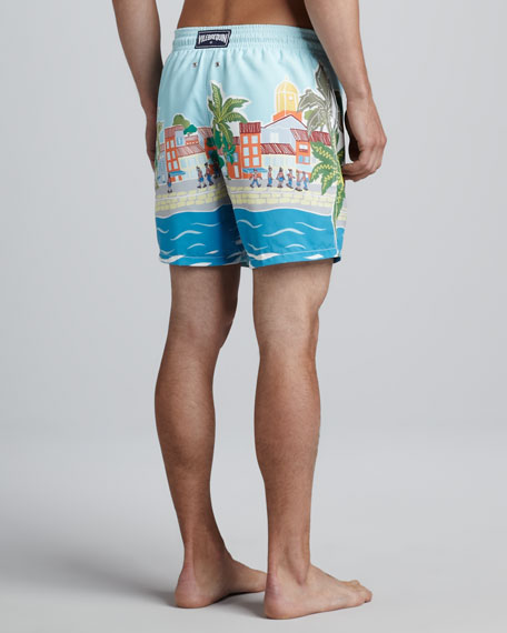Moorea Where's Waldo? Print Swim Trunks