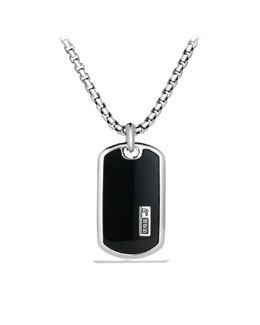 David Yurman Exotic Stone Tag with Black Onyx on Chain