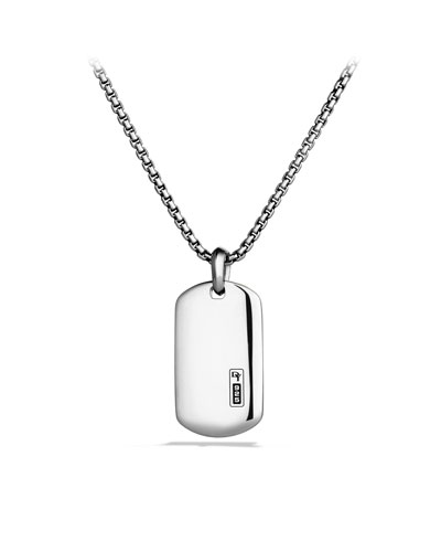 DY Logo Tag Necklace in Sterling Silver