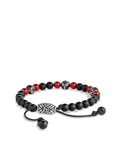 Spiritual Beads North Star Bracelet with Black Onyx and Coral