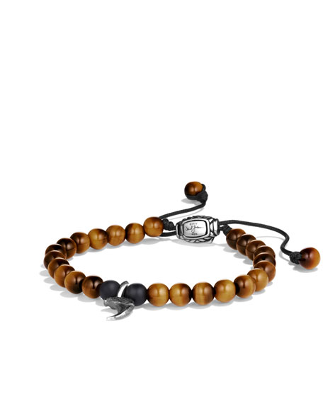 Spiritual Beads Claw Bracelet with Tiger's Eye and Black Onyx