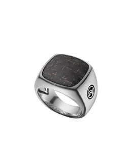 David Yurman Signet Ring with Bronze Lightning Strike Carbon Fiber