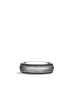 David Yurman Knife-Edge Band Ring with Meteorite and Black Diamonds