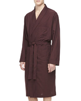 Neiman Marcus Men's Plaid Cotton Robe, Maroon