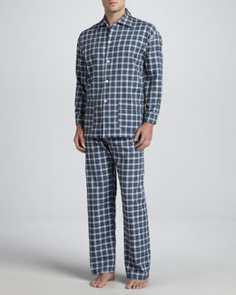 Neiman Marcus Men's Long-Sleeve Pajama Set, Blue