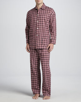 Neiman Marcus Men's Long-Sleeve Pajama Set, Red