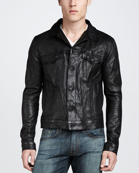 Reid Leather Jacket, Black