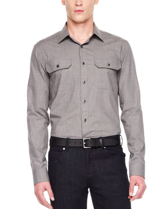 Heathered Two-Pocket Shirt