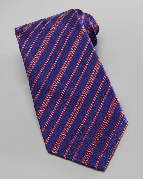 Dot-Stripe Silk Tie, Blue/Red