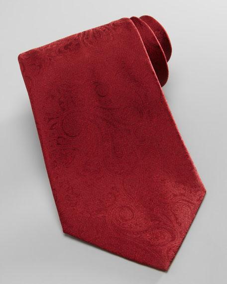 Tonal Paisley Silk Tie, Red