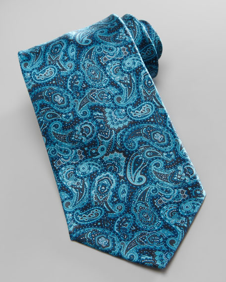 Paisley Silk Tie, Aqua