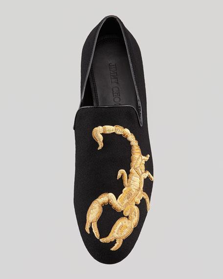 68e98f8543d Jimmy Choo Sloane Embroidered Scorpion Smoking Slipper, Black