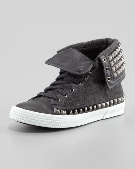 Spencer Men's Studded Flannel High-Top Sneaker
