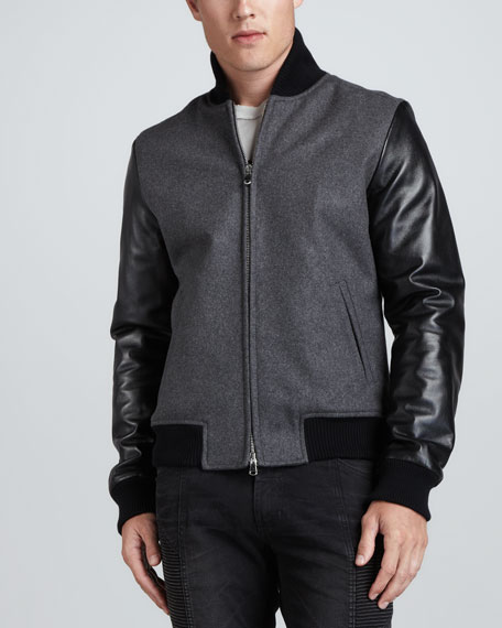 Varsity Jacket with Leather Sleeves