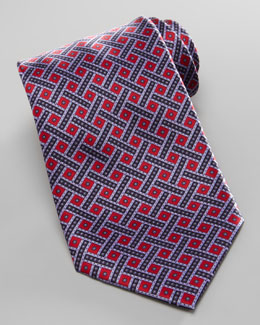 Stefano Ricci Weave & Dot Silk Tie, Red
