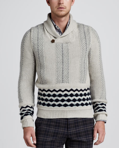 Shawl Collar Mix-Knit Sweater