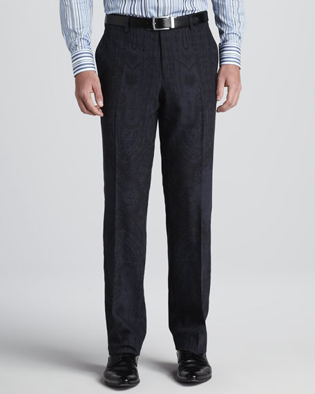 Paisley-Print Scarf Pants