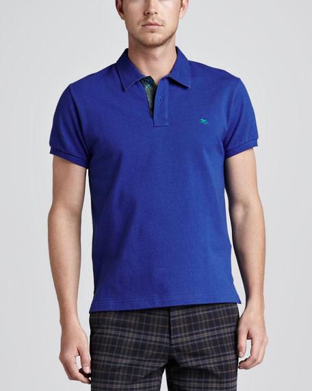 Paisley-Facing Polo, Royal Blue