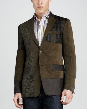 Patchwork Sport Coat, Olive/Brown