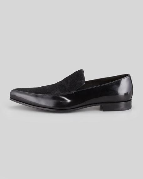 Spazzolato Leather & Calf Hair Slipper, Black