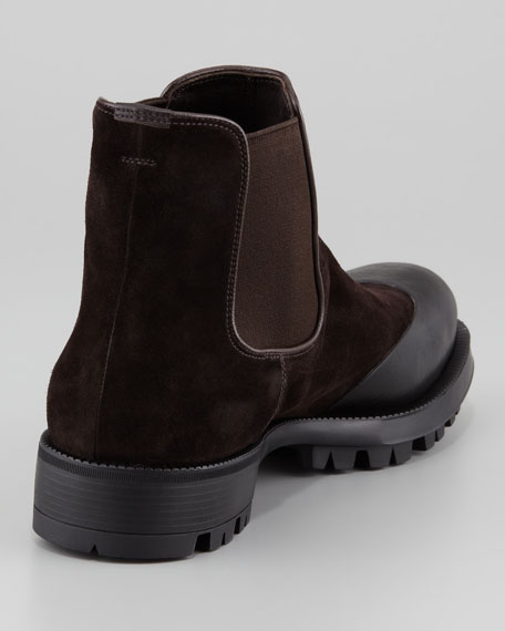 Suede & Rubber Chelsea Boot, Dark Brown