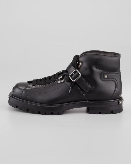 Studded-Toe Short Biker Boot