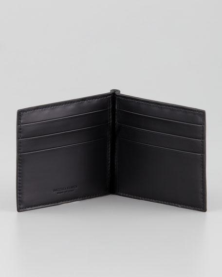 Basic Woven Bi-Fold Clip Wallet, Black