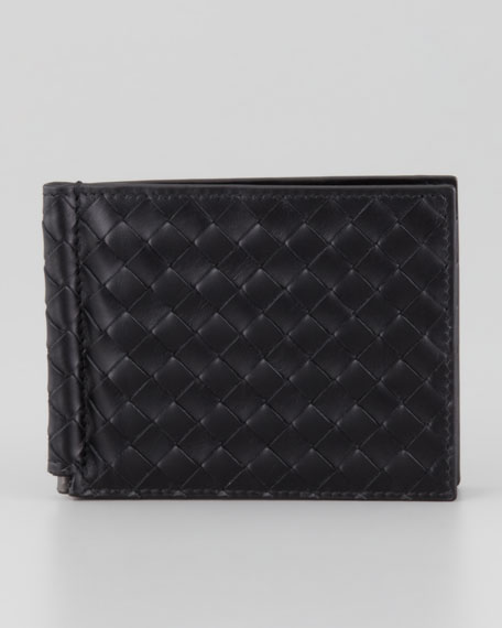 Bottega Veneta Basic Woven Bi-Fold Clip Wallet, Black