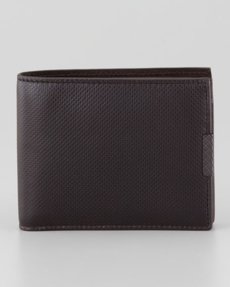 Polo Micro-Embossed Bi-Fold Wallet, Brown