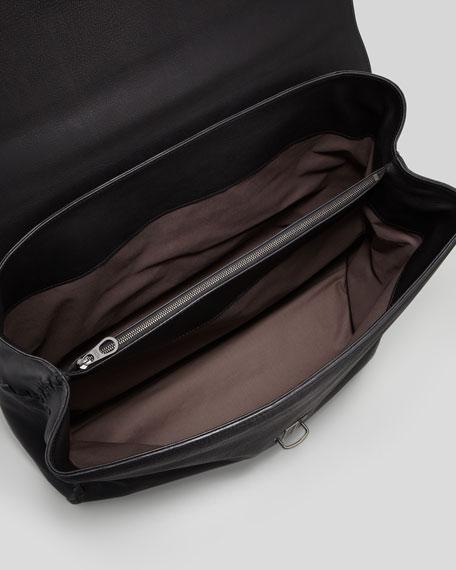 Woven-Seamed Briefcase, Black